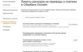 Лимиты на переводы через сбербанк онлайн
